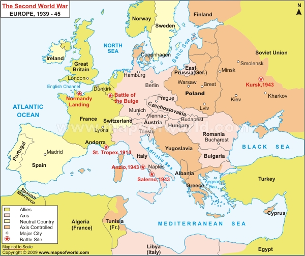 Map Of Europe Wwii